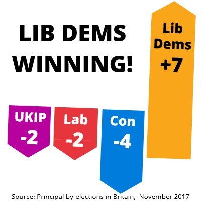 Lib Dems Winning in by-elections November 2017